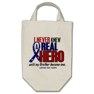 Never Knew A Hero 2 Brother (Support Our Troops) Canvas Bags