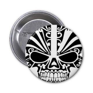 Maori Tattoo Mask Skull Pinback Buttons