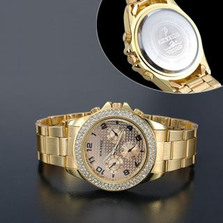 Ladies Girls New Shining Bling Crystal Stone Decorated Big Dial Gold