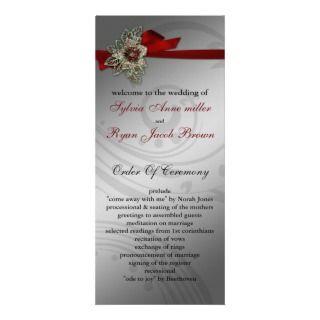 FAUX ribbon red Wedding program Rack Card Template