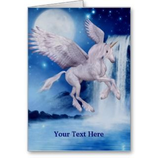 Flying Unicorn Fantasy Horse Photo Card