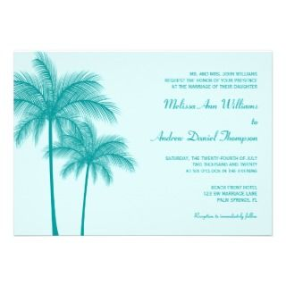 Teal Blue Palm Tree Tropical Wedding Personalized Invites