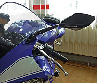 Universal Verkleidungsspiegel TOREZZO mit LED Blinker Alu schwarz Plus
