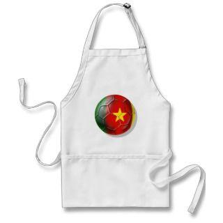 Cameroon flag soccer ball fans gear apron