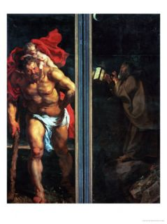 Altar: Descent from Cross, Closed, Left Side: Saint Christopher, Right: a Hermit Giclee Print by Peter Paul Rubens