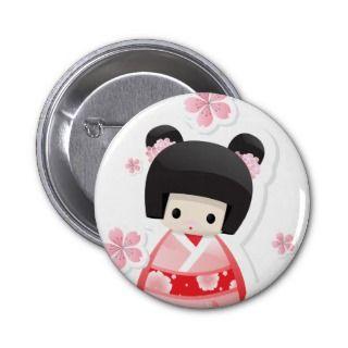 Japanese Geisha Doll   buns series button