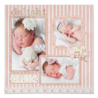 Stork and Ethnic Baby Boy Photo Scrapbook Page Print