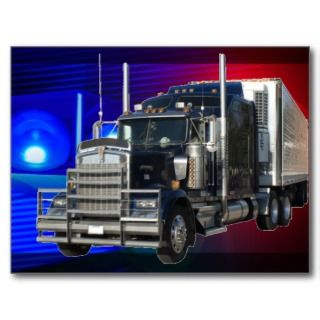 SEMI TRACTOR TRAILER WITH POLICE LIGHTS BACKGROUND POSTCARD