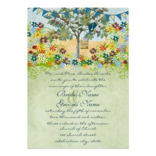 Teal Love Birds Sitting In a Tree Wedding Invite