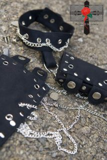 Visual Kei Rock SLAVE Gothic Punk HandCuffs Choker Set