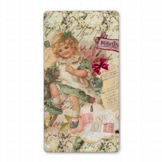Vintage cute chic Victorian girl cat & pink floral Personalized