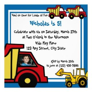 Construction Fun/ Dump Truck Personalized Announcement