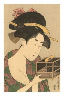 Japanese Woodblock, Lady with Box Posters