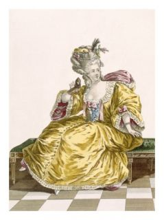 Ladys Gold Taffeta Ball Gown, Engraved by Patas, Plate No.86 Giclee Print by Pierre Thomas Le Clerc