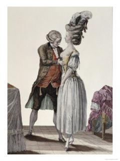 Tailor Trying Out a Fashionable Corset on a Lady, Galerie Des Modes et Costumes, c.1778 87 Giclee Print by Le Clere
