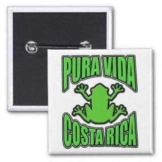 Pura Vida Costa Rica Green Frog Button