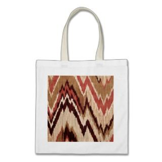 Hipster Girly Brown Red Colorful Zig Zag Pattern Tote Bags