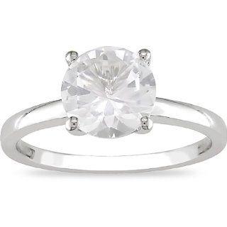 10K Gold 2 1/5ct TGW Geschaffene Weißer Saphir Ring
