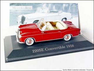 Mercedes Benz 220SE Ponton Cabriolet  1959  W128 # Ixo 143