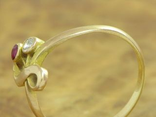 14kt 585 GOLD ROTGOLD RING MIT RUBIN & DIAMANT BESATZ RUBINRING