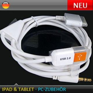 3in1 Audio Klinke+ Sync USB Kabel iPhone 4 iPad 2 iPod