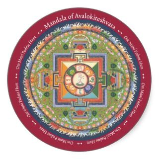 STICKER Mandala of Chenrezig   with Mantra
