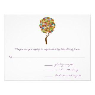 Swirled Flower Love Tree Wedding Invitation