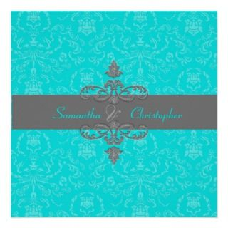 PixDezines Arianna Damask, Aqua Blue/diy color Custom Invites