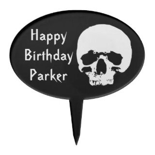 Black and White Scary Skull Birthday Cake Topper