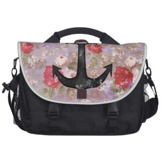 Vintage Nautical Anchor Purple Pink Floral Pattern Laptop Messenger