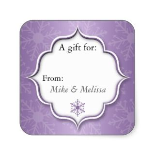 Purple Snowflakes Holiday Gift Tag Stickers