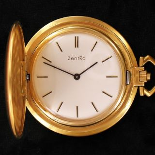 Zentra watch pocket purse Frackuhr mit Kaliber As 1525 Gold plattiert