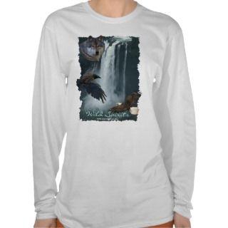 Eagle, Wolf, Raven & Falls Nature Scene T Shirt