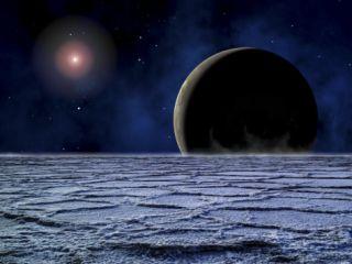 Distant Star Illuminates an Extrasolar Planet on the Horizon of a Frozen Moon Photographic Print
