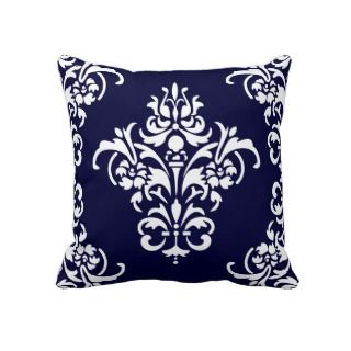 Elegant Navy Blue and White Damask Pillow