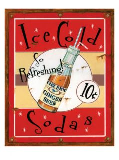 Ice Cold Sodas Giclee Prin by Lesley Hallas