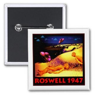 Roswell 1947 UFO Crash Pinback Buttons