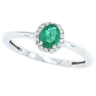 Mytreasurez Echter Smaragd Ring mit Diamanten, 0,45 ct, in 14 kt