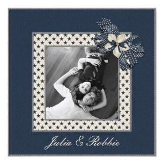 Blue Stars Photo Save The Date Invitations
