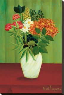 Flowers Green Stretched Canvas Print by Henri Rousseau