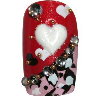 Eyecandy Nagel Design   Nail Art   weißes Herz auf rot schwarz