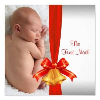 Red Bells Babys First Christmas Photo Card Announcement