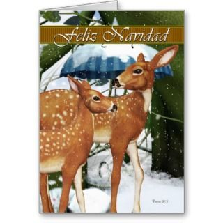 Feliz Navidad   Spanish Doe and Fawn Deer Card