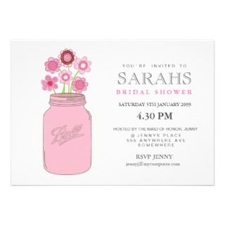 Mason Jar Flowers Bridal Shower Party Invite