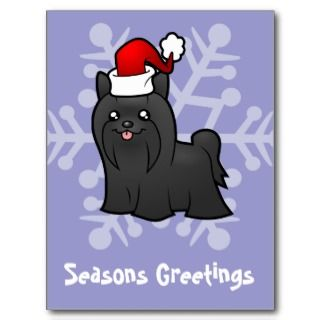 Christmas Yorkie (black long hair) Post Card
