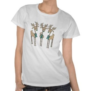 Ovarian Cancer Christmas Ribbon T Shirts, Ovarian Cancer Christmas