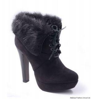 High Heels Ankle Boots Wildleder Look Schwarz Plateau Fell 35 40 Sexy