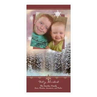 Snowy Feliz Navidad   Spanish Photo Christmas Card Custom Photo Card