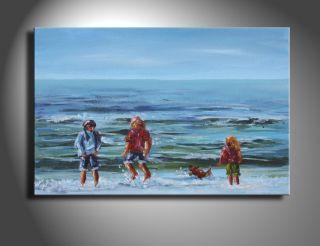 SABINE SCHRAMM Meer Menschen am Strand Bild Gemälde 30 x20