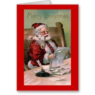 Santa Claus reading Christmas Letters Card